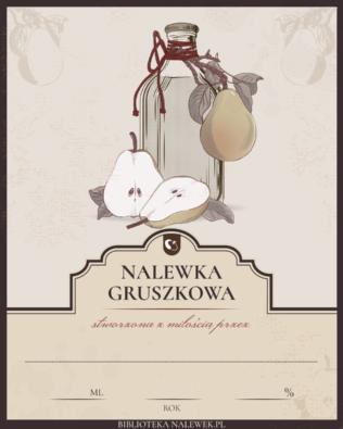 Etykieta do Nalewka gruszkowa