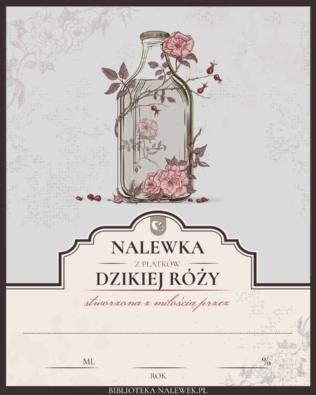 Etykieta do nalewki z dzikiej róży