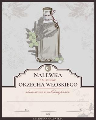 Etykieta do Nalewka na niedojrzałych, zielonych orzechach włoskich