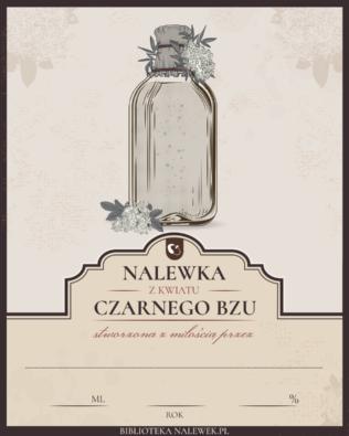 Etykieta nalewka na kwiatach czarnego bzu