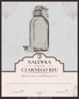 Etykieta do nalewki na kwiatach czarnego bzu