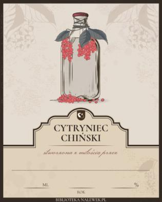 Etykieta do Nalewka z cytryńca chińskiego